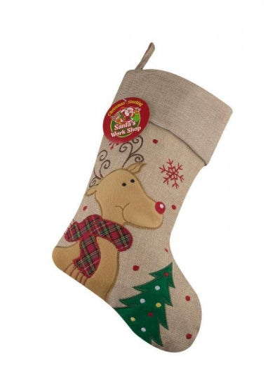 Personalised Hessian Reindeer Christmas Stocking