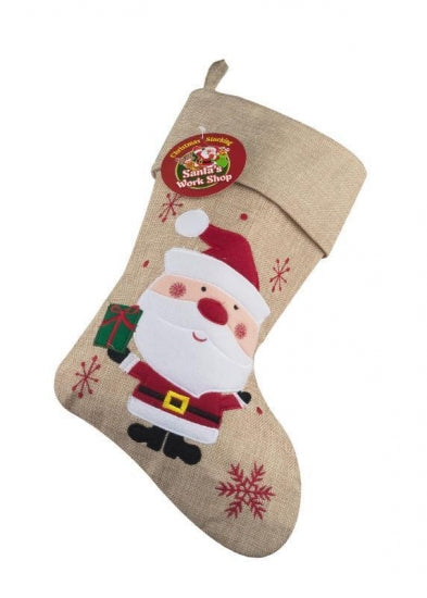 Personalised Hessian Santa Christmas Stocking