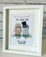 Personalised Wedding Wellies Couple Frame