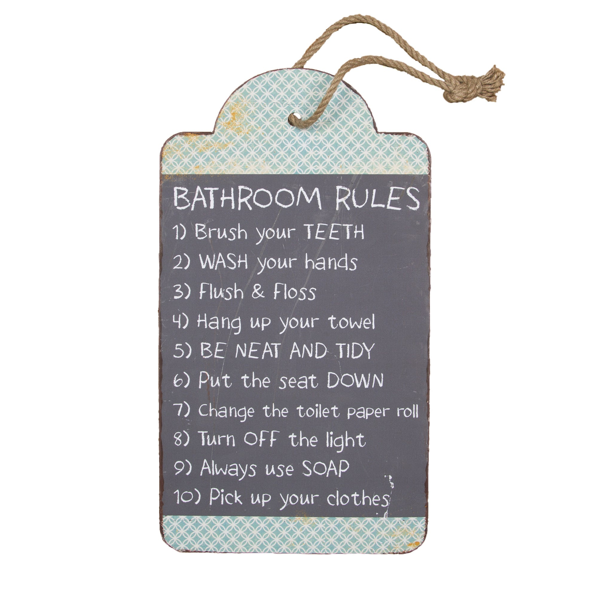 Bathroom Rules Hanging Sign