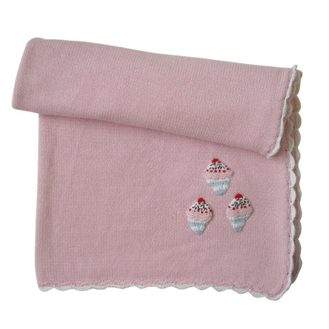 Cupcake Knitted Personalised Cot Blanket