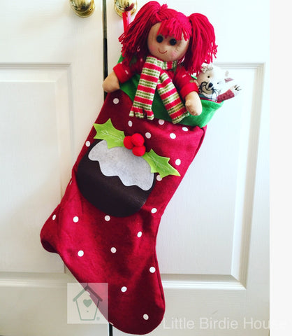 Personalised Large Pudding Christmas Stocking