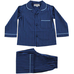 Navy Striped Personalised Pyjamas