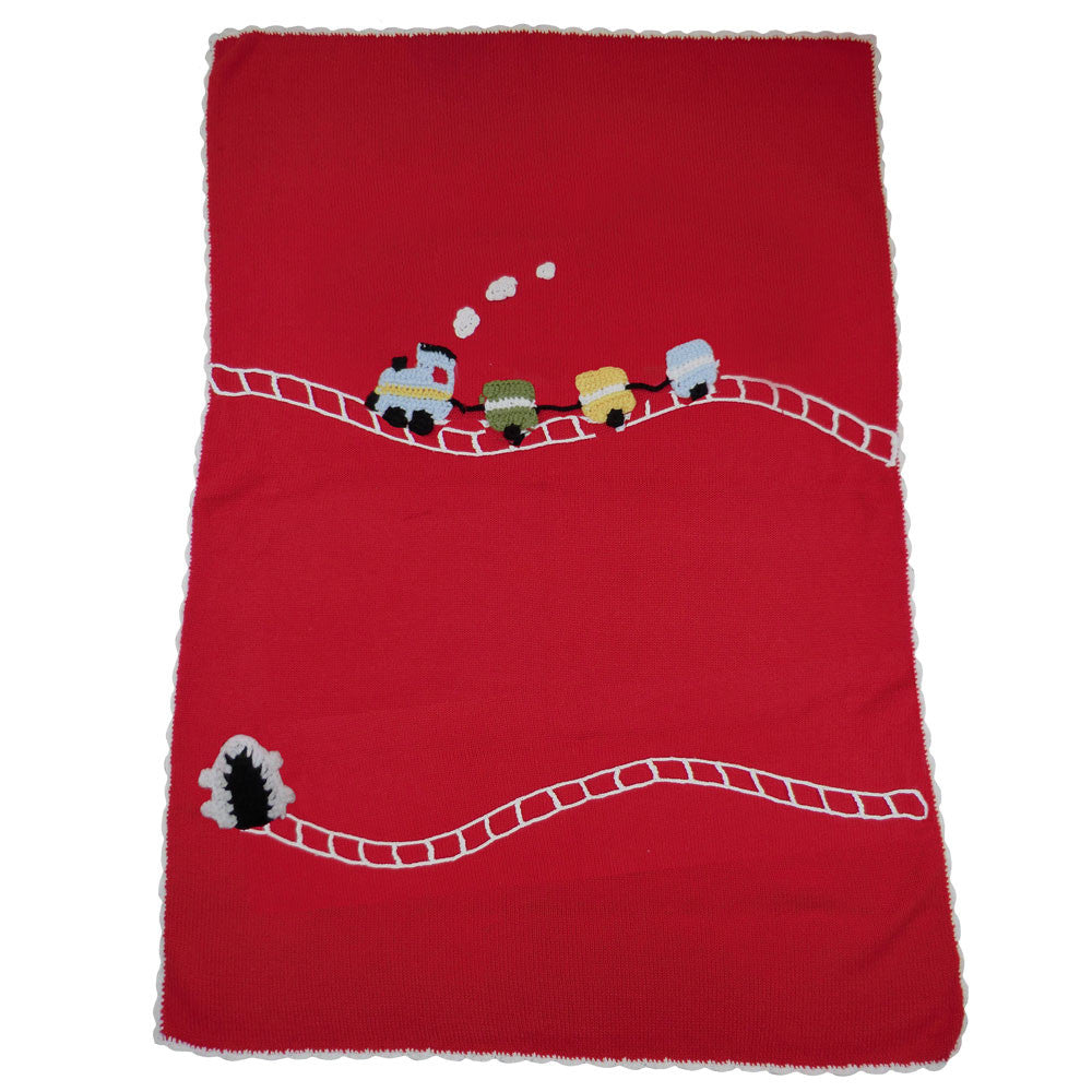 Train Knitted Personalised Cot Blanket