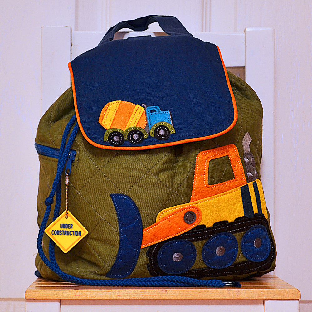 digger quilted personalised childrens backpack little birdie