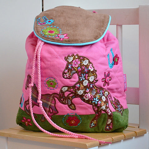 Horse Luxury Quilted Personalised Childrens Backpack