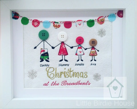 Personalised Christmas Button Family Frame