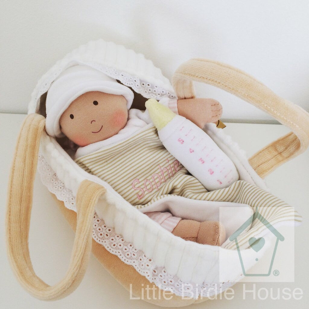 Personalised Baby Doll With Carry Cot Blanket And Bottle