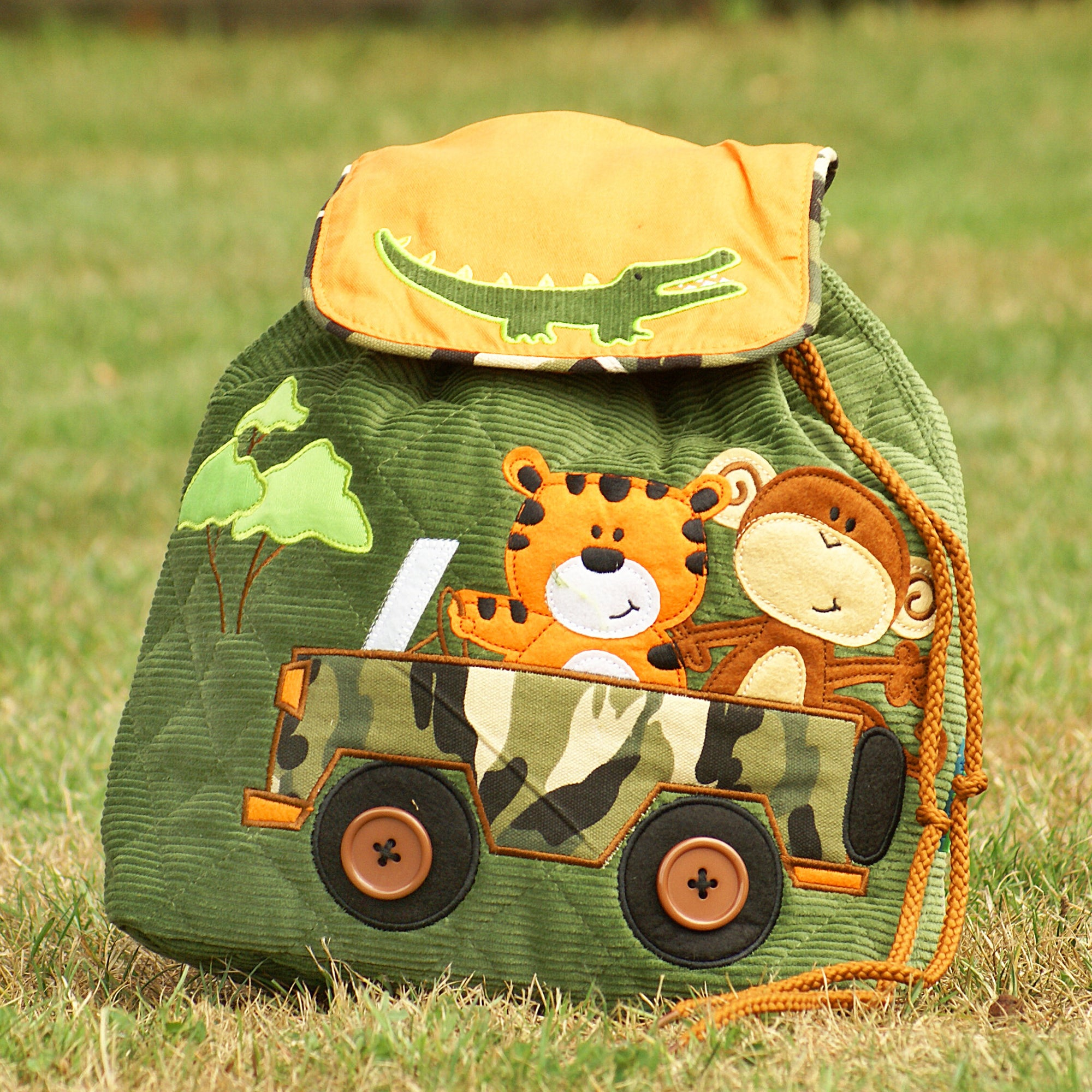 Safari Luxury Quilted Personalised Childrens Backpack