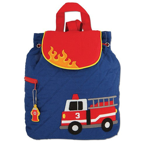 Fire Engine Quilted Personalised Childrens Backpack