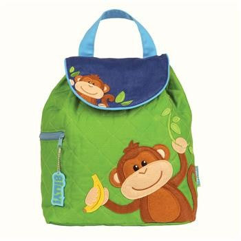 Monkey Quilted Personalised Childrens Backpack