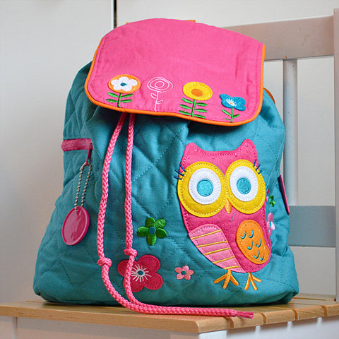 Teal Owl Quilted Personalised Childrens Backpack