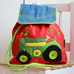 Tractor Luxury Quilted Personalised Childrens Backpack