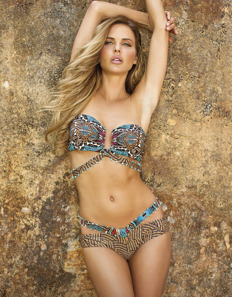 Curacao Bandeau Bikini by Paradizia Swimwear, front on model, strappy and beaded with tuquoises