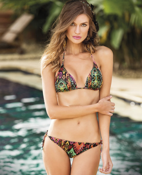 Cuzco Triangle Bikini by Paradizia Swimwear, black and contrasting color print, adjustable triangle top and bottom, available at VaultXV