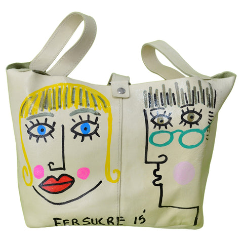 Pop Leather II Bag handpainted by Fer Sucre