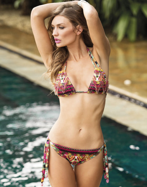 Azteca Halter Bikini by Paradizia, with rows of beads, convert to strapless