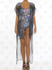 Mediterranean Vest by Paradizia Swimwear, see through, ties at front, long to ankles, on model