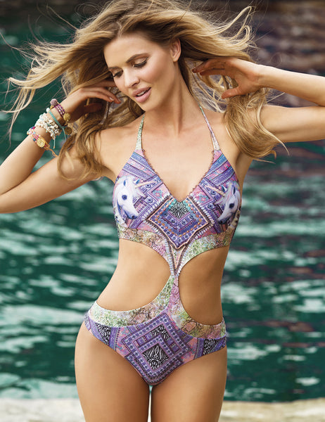 Wanderlust Monokini by Paradizia Swimwear, unicorn and snake print, beaded top, round cutouts in the front