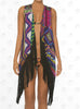 Cuzco Vest Cover Up by Paradizia Swimwear, bright print with black fringes, view of front on model