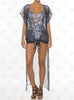 Mediterranean Vest by Paradizia Swimwear, tied at front, see through, beaded on shoulders