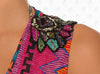 Cuzco Vest Cover Up by Paradizia Swimwear, detail of embroidered beaded shoulder