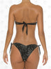 Marrakech Bandeau Bikini by Paradizia Swimwear, back view of black see through lace over black print, silver beading, luxury bikini on model