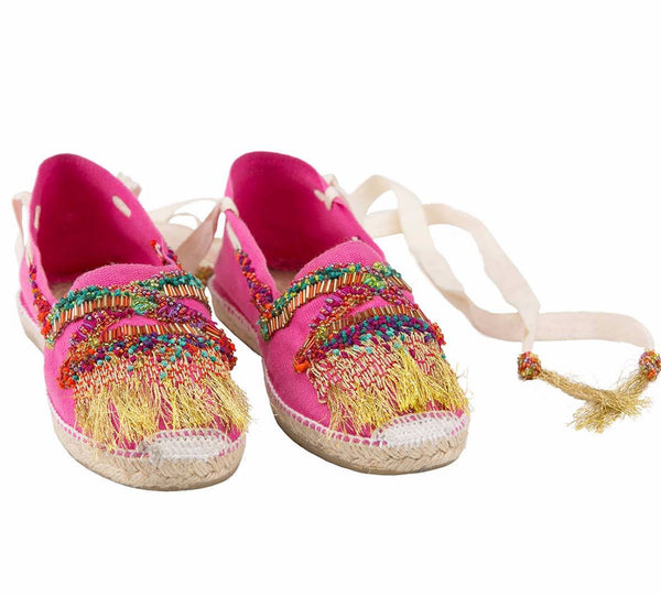 Bendito Cristal Espadrille Shoes by Agua Bendita, pink with embroidery and fringes, at VXV.