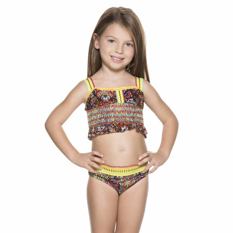 Bendito Ceremonia Girls Bikini by Agua Bendita, tank top smocking everywhere, fixed straps