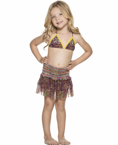 Bendito Ceremonia Girls Skirt by Agua Bendita, with ruffles and smocking in a printed mesh.