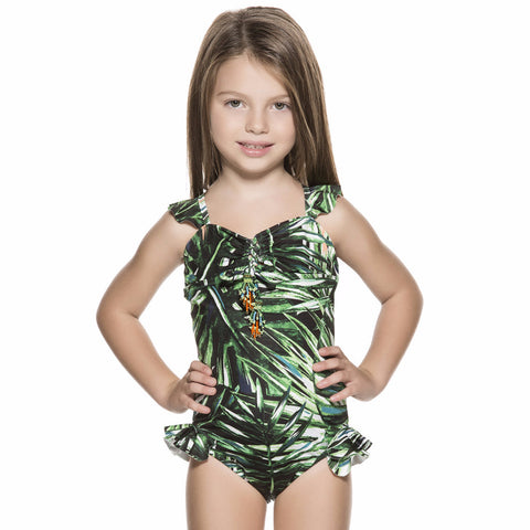 Bendito Coco One Piece Girls Swimsuit by Agua Bendita, front view, green and white palm print girls swimsuit
