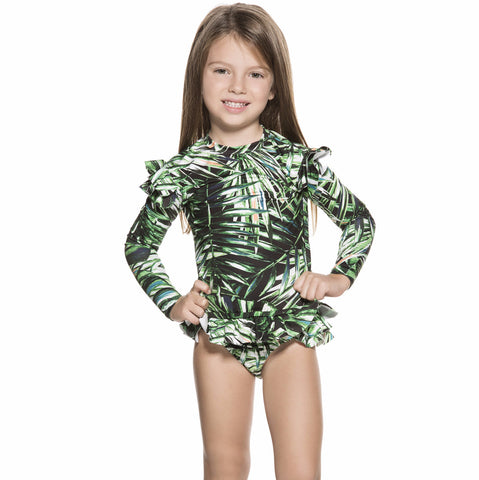Bendito Coco Girls Shirt by Agua Bendita, front view on model