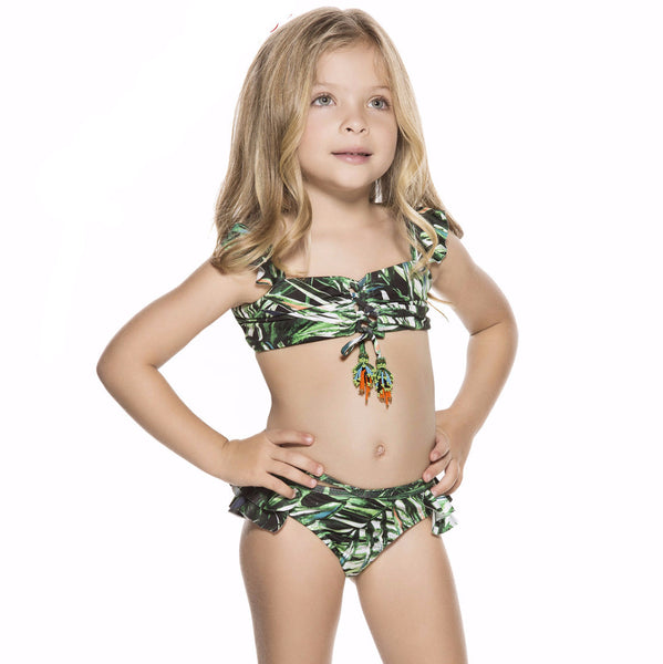 Bendito Mapora Girls Bikini by Agua Bendita. Green and white palm print, ruffles, criss cross tie at front with tassles