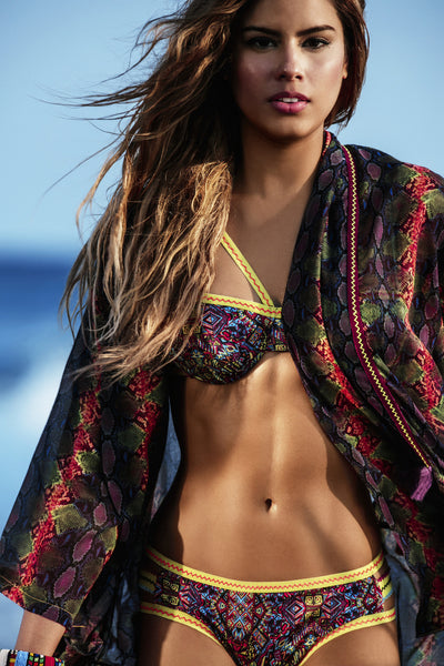 Bendito Tribe Bikini by Agua Bendita on model Ariadna Gutierrez at beach