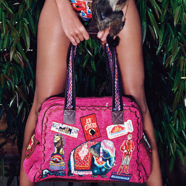 Bendito Circo Bag by Agua Bendita, pink with embroidered patches, at VaultXV