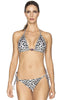 Bendito Instinto Bikini by Agua Bendita, front view on model, white tiger print bikini