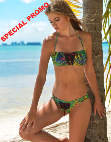 Cascabel Bikini by Palheta Swimwear, front view of bikini on model at beach, at VaultXV.com