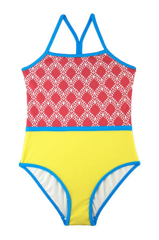 Bright Mix One Piece Swimsuit by Stella Cove, UV protection fabric, color block yellow, red print and blue trim, swimsuit for girls