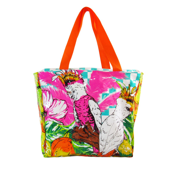 Cacatua Beach Bag by MolaMola, front view, plastic covered, orange handles