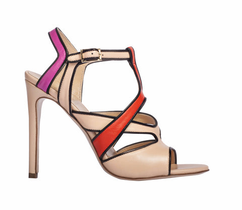 Myrcella Strappy Nude Sandals by De Siena at VaultXV, side view