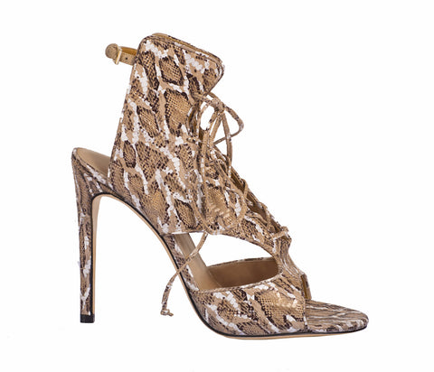 Melysandre Beige Boa Sandals by De Siena at VaultXV
