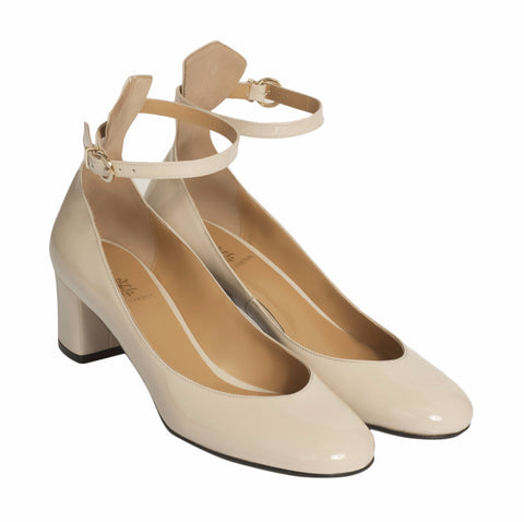 Estelle Beige Ankle Strap Pumps