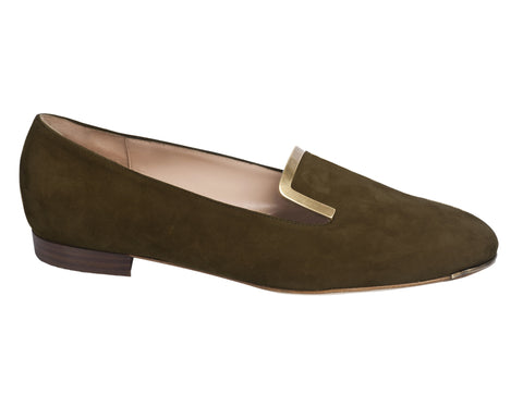 Eva Brown Suede Flats by De Siena
