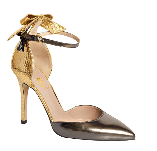 Gold Anaconda Polina Ankle Strap Shoes by De Siena
