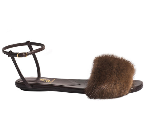 Allegra Mink Sandals by De Siena