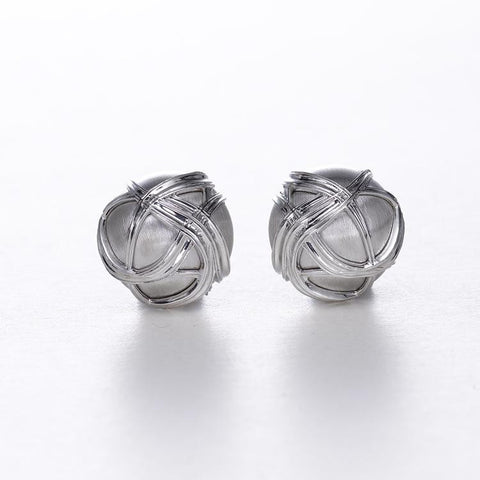 Paja Dome Silver Earrings by Ellen Himic