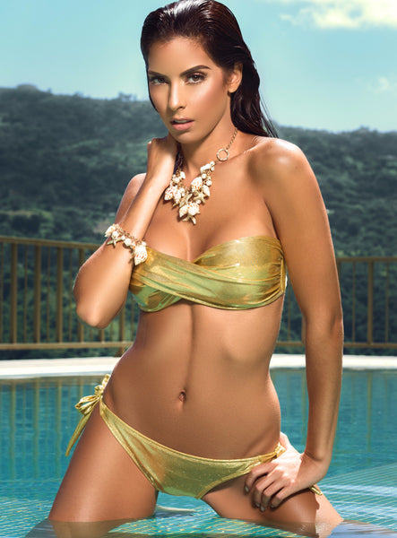 Gold Twist Bandeau Bikini by Tequila Beach Swimwear, on model
