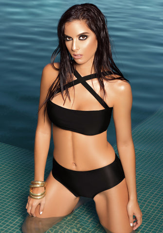 Glam II High Waist Bikini by Tequila Beach Swimwear, black, on model