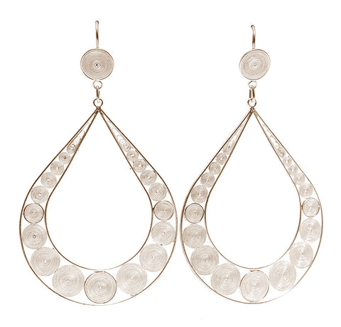 Oval Hoop Filigree Earrings by Astrid Poletti