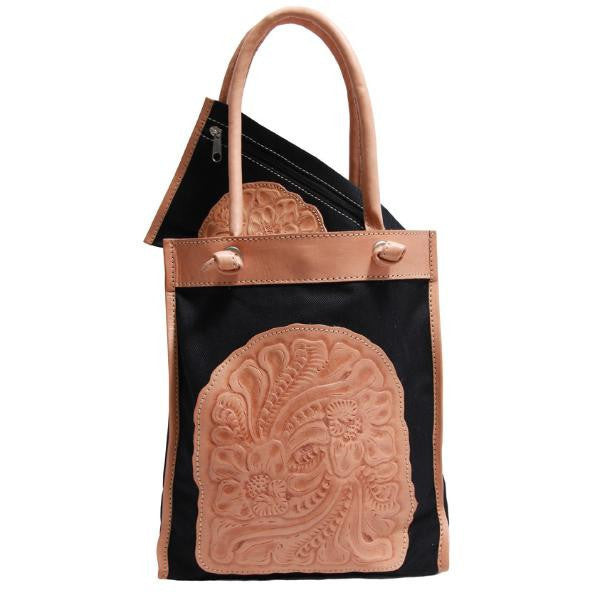 Astrid Poletti Beach Bags,  natural leather and black cotton
